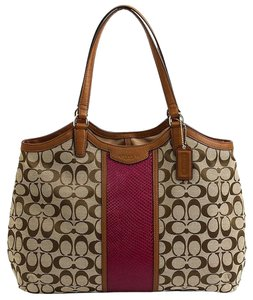 Coach Signature Stripe Khaki Brown Handbag Tote