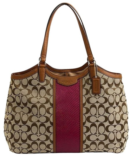 Preload https://img-static.tradesy.com/item/11151793/coach-signature-stripe-khakicherrypinkbrown-last-one-tote-0-2-540-540.jpg