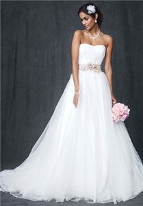 David's Bridal Tulle Ball Gown With Ruched Bodice Wedding Dress