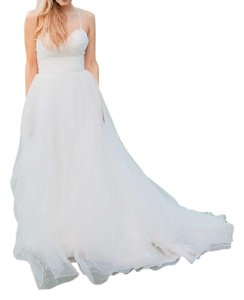 Wtoo White Tulle Madison Gown Feminine Wedding Dress Size 2 (XS)