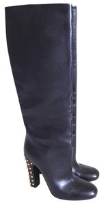 Gucci Jacquelyne Gold Knee High Leather Black Boots