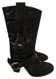 Chlo Leather Midcalf Heel Black Boots