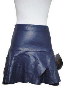 Zara Leather Mini Skirt Purple