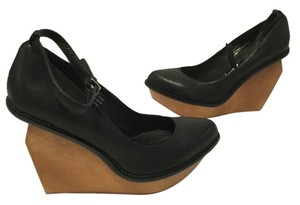 Jeffrey Campbell Leather Wood Black & brown Wedges