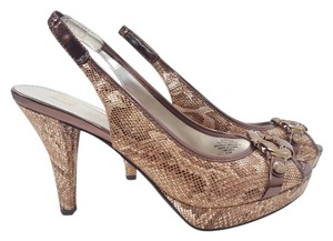 Anne Klein Ramita Reptile Fabric Slingback Pumps Size 6.5 Brown Reptile Sandals