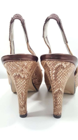 Anne Klein Fabric Slingback Size 6.5 Brown Reptile Sandals