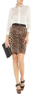 Elizabeth and James Pencil Faux Fur Skirt Leopard