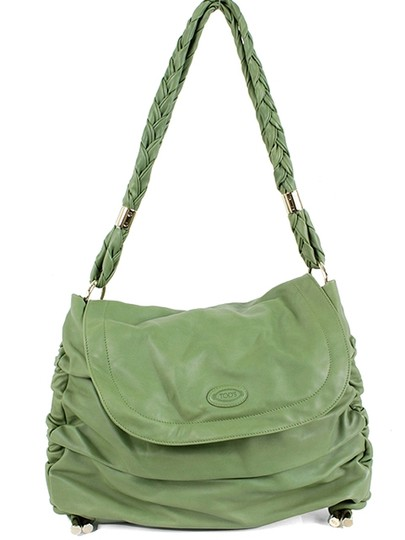 Tod's Leather Ruched Silver Hardware Braided Hobo Bag
