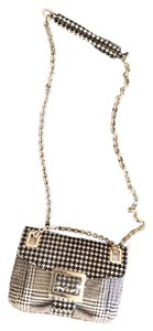 Roger Vivier Houndstooth Chain Link Evening Small Black and White Clutch