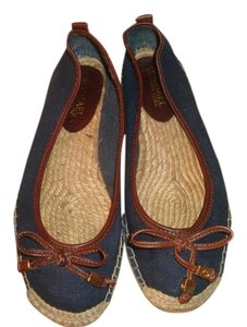 Michael Kors Canvas Espadrille Navy Blue and Tan Flats