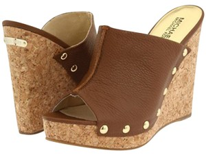MICHAEL Michael Kors Leather Wedge Cork Heel Brown and Gold Mules