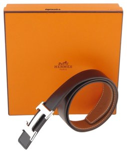 Hermès SALE SALE SALE !!! Authentic 32MM/75CM Hermes Constance Reversible Belt Kis Silver Buckle Black Brown Leather Strap Excellent Box and Dust Bag