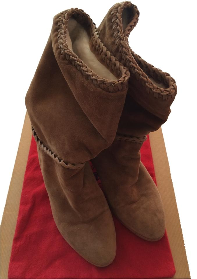 Christian Suede Louboutin Tan Red Soles Suede Christian Leather Boots/Booties ace0af