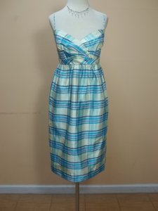 Alfred Angelo Feather Blue Plaid 7111 Dress