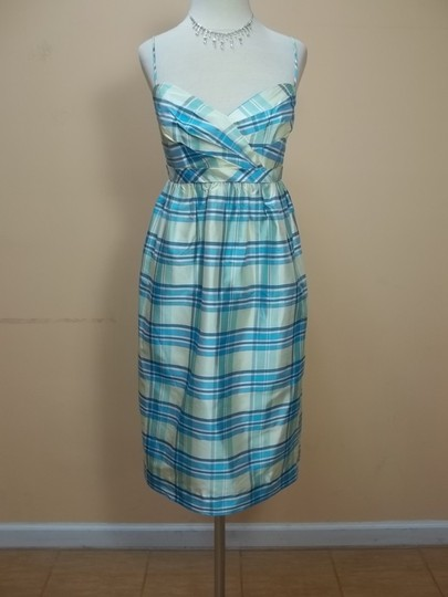 Alfred Angelo Feather Blue Plaid Silk 7111 Formal Bridesmaid/Mob Dress Size 10 (M)