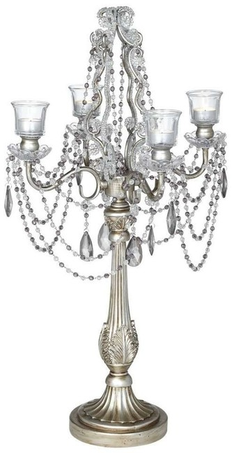 Item - Antique/Brushed Silver 28' Candelabra Centerpiece