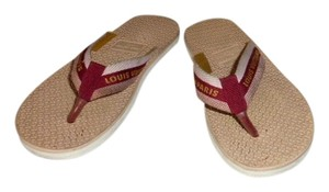 Louis Vuitton TAN & RED RUBBER THONG SANDALS Flats