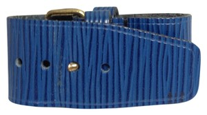 Louis Vuitton Louis Vuitton #4687 discontinued Blue epi leater Logo Leather Luggage Loop Belt Strap For Speedy Neverfull Alma Keepall Travel Souple Sac Duffel Duffle Gym Bag