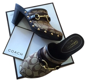 Coach Khaki Studded Gold Hardware Buckle Studs Signature Fabric Sig Fabric C Brown Mules