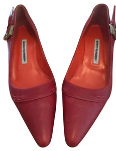 Manolo Blahnik Leather Buckle Red Pumps