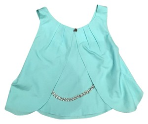 Other Chain Chain Open Back Silk Crop Top Turquoise