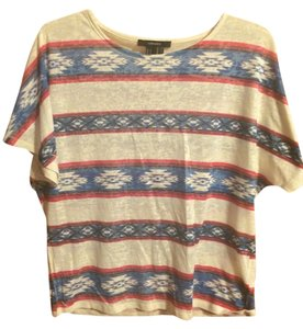 Forever 21 Aztec Crop T Shirt Red/White/Blue