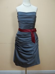 Alfred Angelo Charcoal/Wine Satin 7123 Formal Bridesmaid/Mob Dress Size 12 (L)