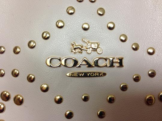 Coach Studded Leather Gold/Chalk Tote in Light Gold/Chalk
