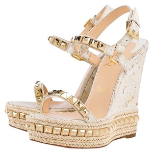 Christian Louboutin Cataclou Stud Studded Gold White Wedges