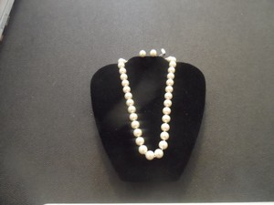 Bridal White Pearl Crystal Bib Necklace Set