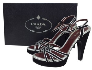 Prada Leather Sandal Black Sandal Sandals Black/silver Platforms