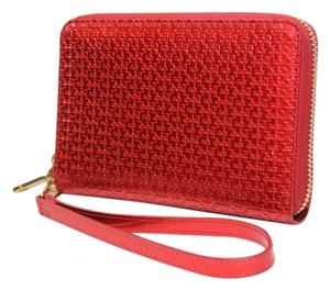 Tory Burch Tory Burch Red Metallic Logo Wristlet Wallet New With Tags