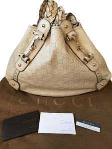 Gucci Leather Satchel in Tan/sand trim