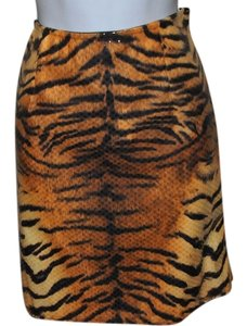 Linda Segal Sexy Short Sixe 8 Pencil Mini Skirt Brown, Orange & Black Tiger Stripe