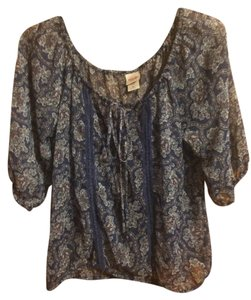 Mossimo Sheer Top Blue Paisley
