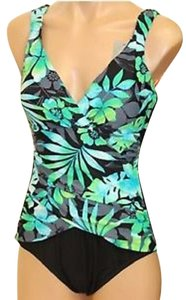 Tropical Honey Tropical Honey One -Piece Swimsuit. Floral Blue, Green. Slimming tummy/ Bust Enhancing. Great Fit- sz 12