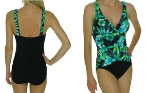 Tropical Honey Tropical Honey swimsuit. Body Slimming floral, blue, green, black, sz10. Bust Enhancing