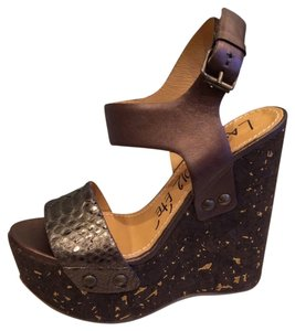 Lanvin Platform Wedge Brown Sandals