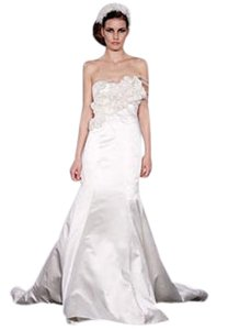 Melissa Sweet Ivory Satin Feminine Wedding Dress Size 2 (XS)