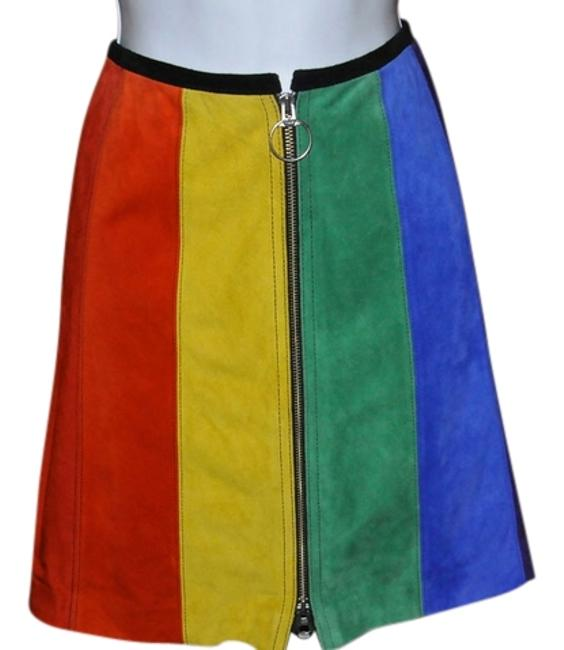 5/48 5/48 Brand Suede Leather Above The Knee Front Zipper New With Tags Mini Skirt Yellow, Orange, Red, Purple, Blue & Green