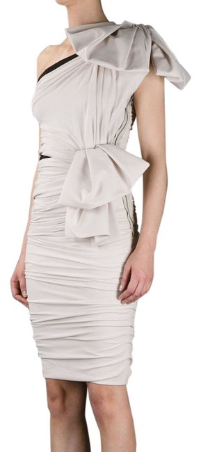 Preload https://img-static.tradesy.com/item/11160193/lanvin-nude-one-shoulder-ruched-wbow-364-knee-length-night-out-dress-size-4-s-0-2-650-650.jpg