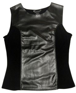 Moda International Faux Leather Top Black