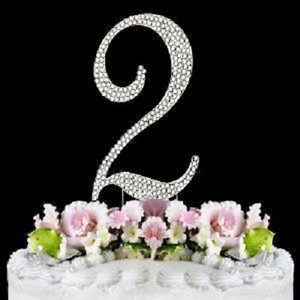 Silver Rhinestone 2 Cake Toppers