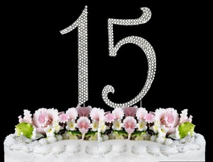 Silver Rhinestone 15 Cake Toppers