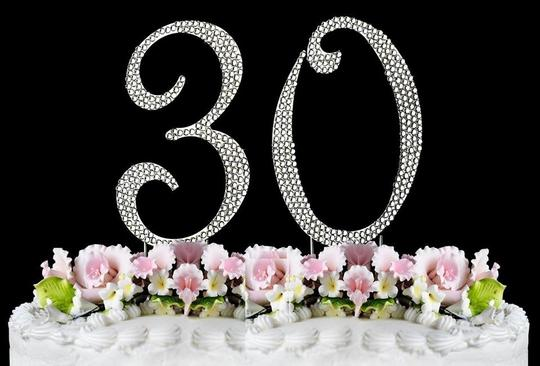 Silver Rhinestone 30 Cake Toppers