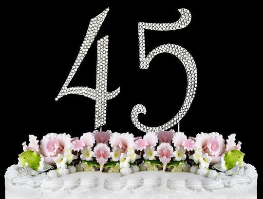 Silver Rhinestone 45 Cake Toppers