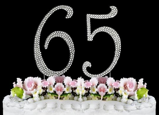 Silver Rhinestone 65 Cake Toppers