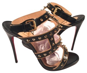 Christian Louboutin Gold Spike Sexystrapi Sexystrappi 120mm Heels 37.5 black Pumps