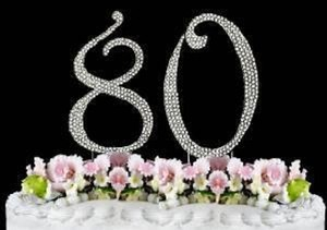 Silver Rhinestone 80 Cake Toppers