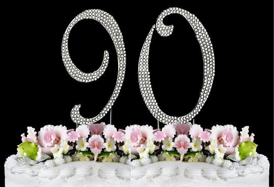 Silver Rhinestone 90 Cake Toppers